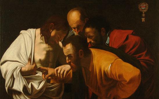 Le Christ en questions, l'incrédulité de Saint-Thomas par Le Caravage