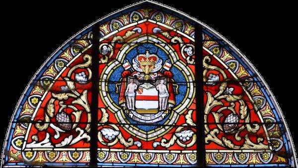 Vitrail représentant en synthèse les armoiries des Princes de Béthune