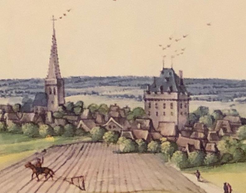 Château de Tincques au début du XVIIe siècle extrait des albums de Croÿ
